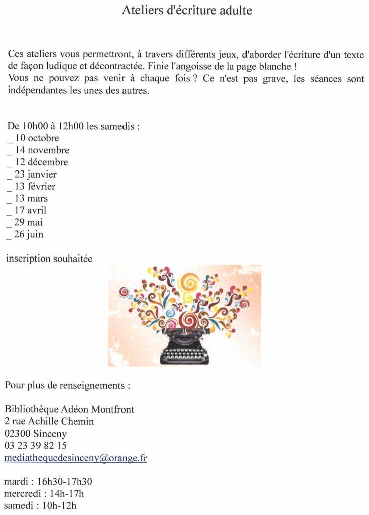 Read more about the article Atelier d'écriture adulte