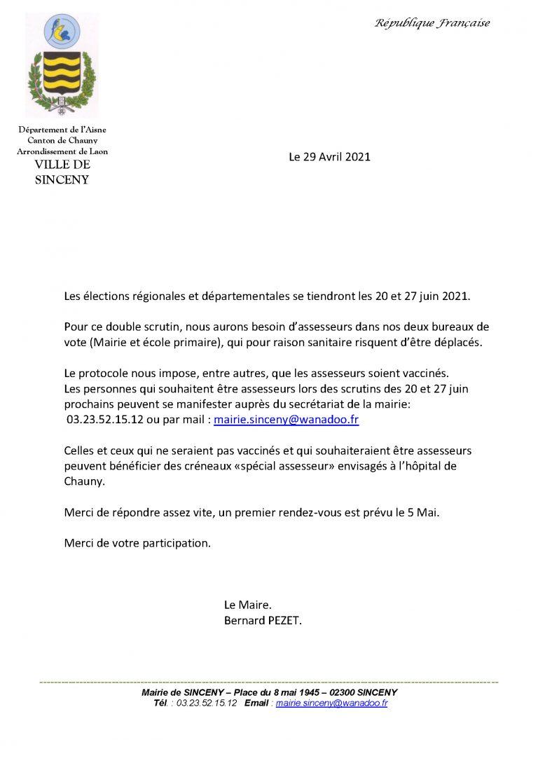 Read more about the article Demande d'assesseurs pour les élections de juin