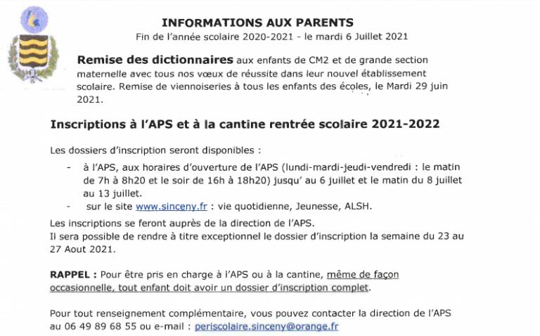 Read more about the article Informations aux parents