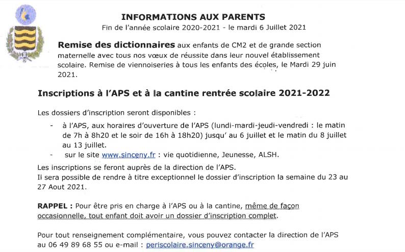 Informations aux parents