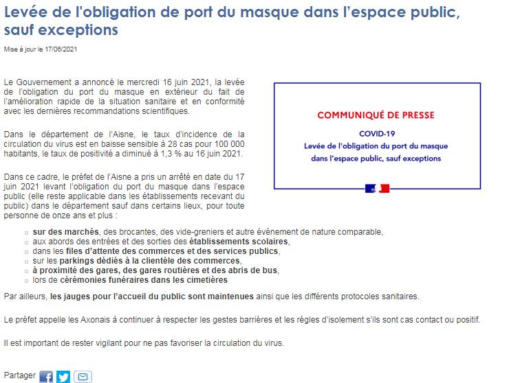 You are currently viewing Levée du port du masque et exceptions