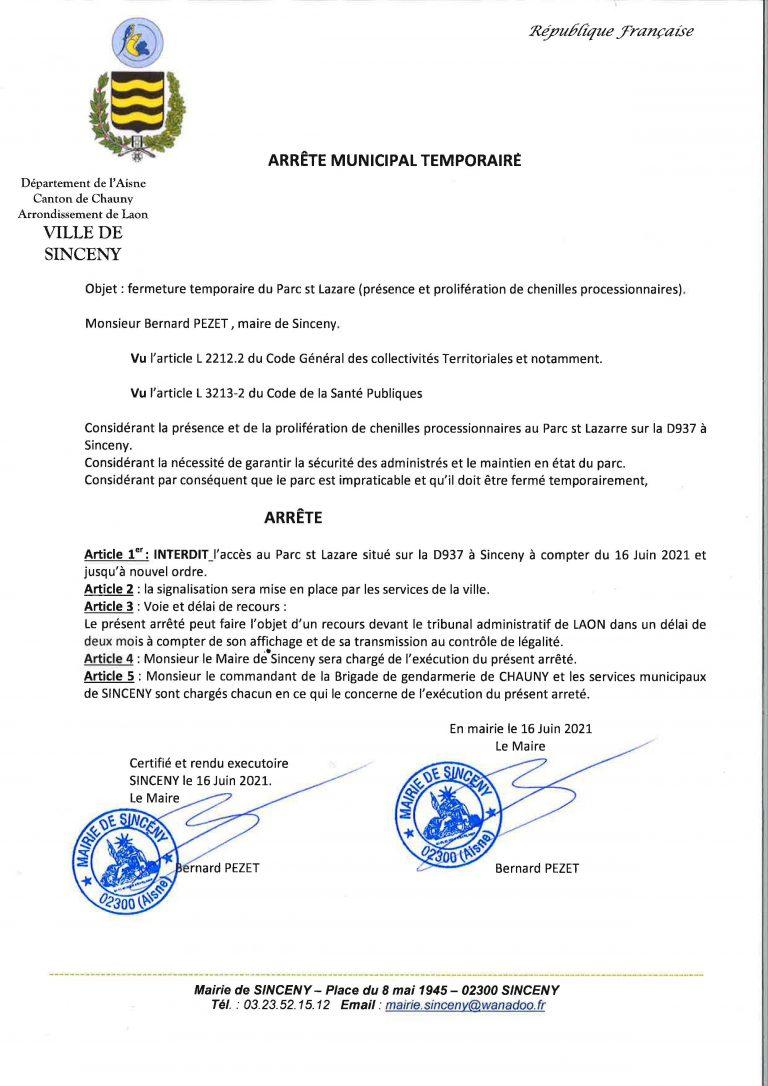 Read more about the article Fermeture du Parc st Lazare