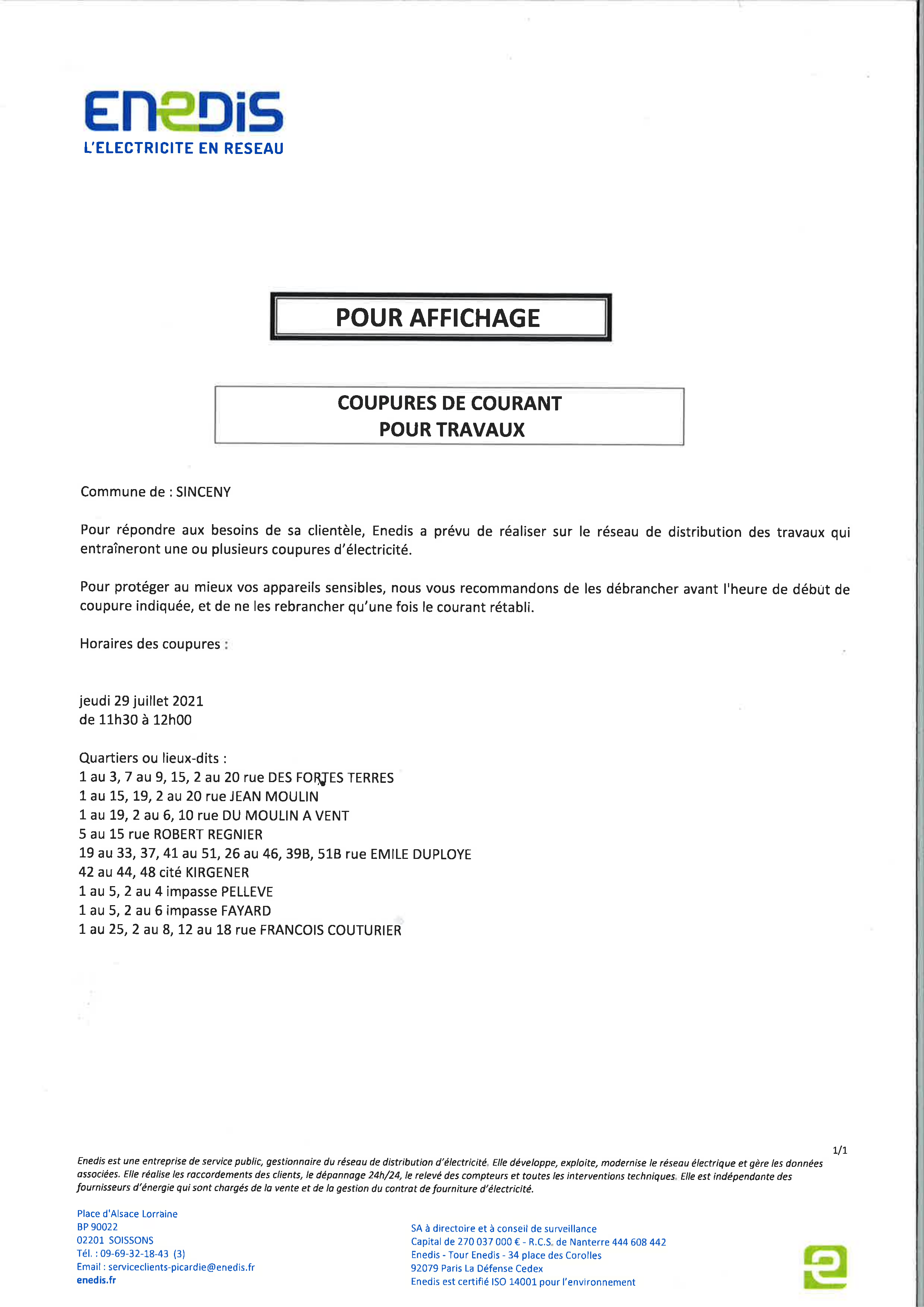 You are currently viewing Attention : Coupure de courant pour travaux